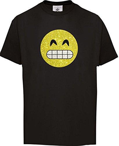 Super Funkelnder Glitzeraufdruck Smiley Emoticon T-Shirt Karneval Fasching Kostüm Breites Grinsen mit Zähnen, 134-146 (Grinsen Emoji Kostüm)