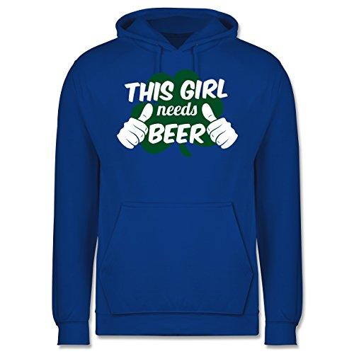 Kostüm Girl Jersey - St. Patricks Day - This Girl Needs Beer Kleeblatt - L - Royalblau - JH001 - Herren Hoodie