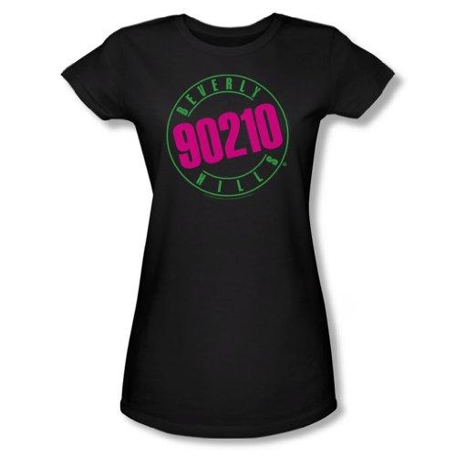 Cbs - Beverly Hills 90210/90210 junge Frauen Neon T-Shirt in Schwarz, Large, Black (Beverly Hills 90210-shirt)
