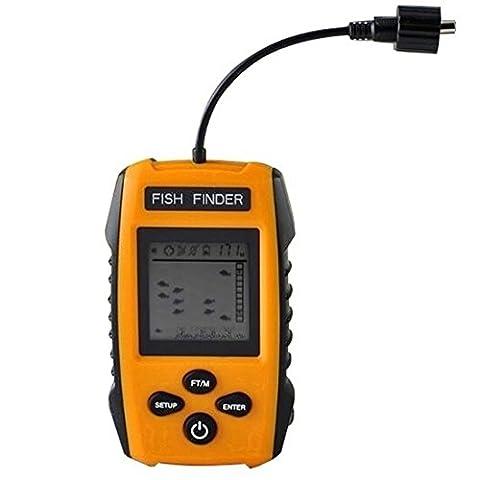 Eletecpro NEUF 2017Portable détecteur de poisson, Sondeur Attaquer Poissons avec capteur Sonar filaire transducteur et LCD Profondeur Finders pour la