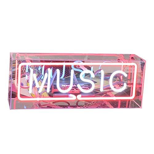 Neonlichter, Halloween-Zeichen-LED-Lampe, dekoratives Licht für die Raumdekoration, Bar. Geschenke, Acryl Lampe Box Neon Sign Bar Message Board für Party(Music) ()