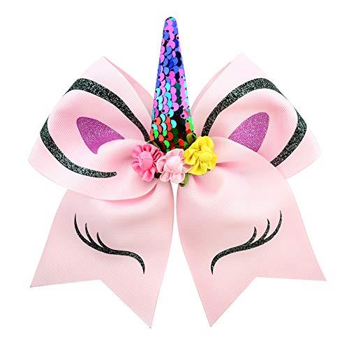 Jushi Haarschmuck mit Einer Fliege das kleine Mädchen Einhorn-Haar-Band-Haar-Klipps Unicorn Cute Unicorn-Haar-Klipps für Haar-Styling-Baby-Geburtstags-Geschenk-Partei-Bevorzugungen (Pink)