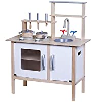 jumini Wooden Pretend Play Toy Kitchen Set for Kids with role play accessories included - White