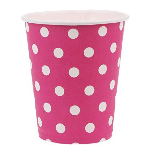 Yasheep Lot de 10Rond Pois Gobelet en carton jetable Vaisselle gobelets en papier pour Noël Thanksgiving Jour Mariage enfants fête d'anniversaire rose