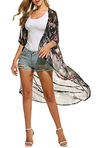 Keland Damen Cardigan Chiffon Floral Print Kimono Sommerkleid Schal Tops (M, Schwarz) (Cardigan Blumen-print)