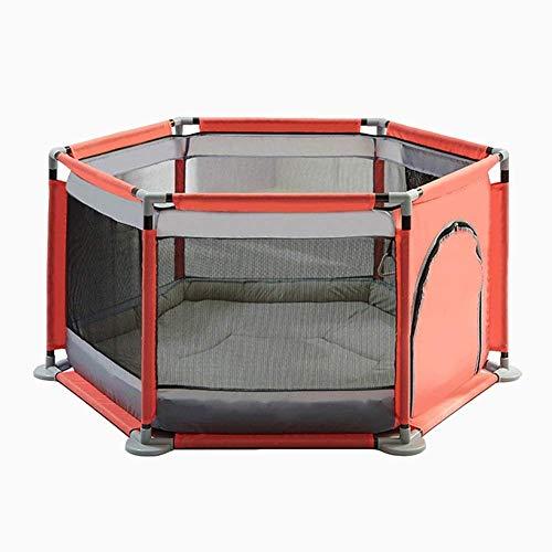 6-panel-massivholz (HU Playpens Indoor Large Baby-Spielplätze mit Matte Vielseitig einstellbar waschbar Kids Boy Toddlers 6 Panel (Farbe : Orange))