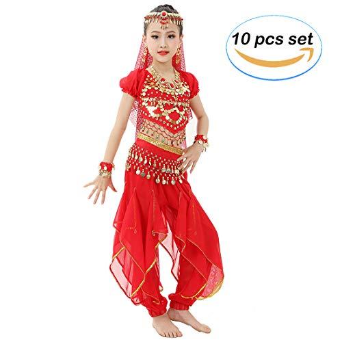 Magogo Mädchen Bauchtanz Kostüm Glänzende Party Karneval Outfit, Kinder Arabische Prinzessin Kleidung Cosplay Dancewear (L, - Arabische Party Kostüm
