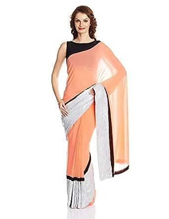 S&N Drape by Shantanu and Nikhil Saree with Readymade Blouse (SNAMZSAREESL03_Coral_38)