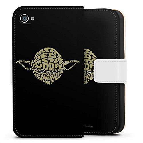 Apple iPhone 4s Hülle Premium Case Cover Star Wars Merchandise Fanartikel Yoda Typo Sideflip Tasche weiß