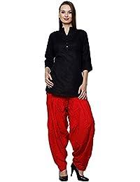 Pistaa Women's Cotton Solid Awesome Short Black Kurta And Red Punjabi Patiala Salwar Set