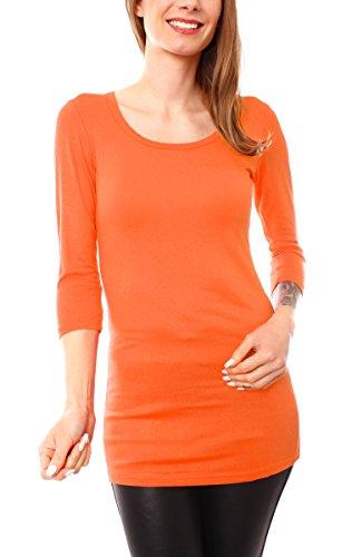 Damen Basic T-Shirt Top lang Longshirt Longsleeve Minikleid Halbarm Rundhals Orange 38/40 - M/L (Jersey Langes T-shirt Extra)