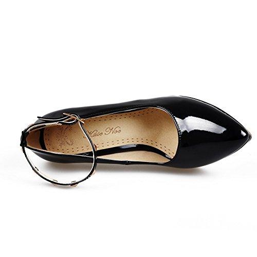 VogueZone009 Donna Fibbia Tacco A Spillo Pelle Di Maiale Puro Scarpe A Punta Punta Chiusa Ballerine Nero