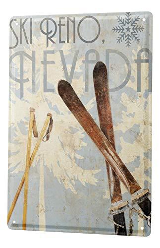 Blechschild Sport Ski Skistöcke Reno Nevada Deko Wand Schild 20X30 cm