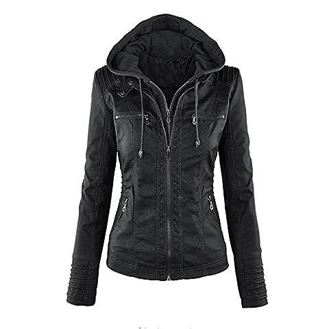 DoubleYI Damen Winterjacke Kurz Lederjacke Frauen Wintermantel Bikerjacke Motorrad Jacken Outwear