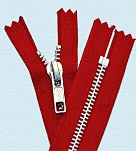 34 cm, fermeture Éclair YKK#5 ~~en Aluminium et poids moyen, fermeture Éclair YKK fermé 519 ~~rouge vif (1 zippée)