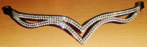 Cwell Equine, Designer V-Stirnband mit klaren Kristallen, dreimal geteilt, 40,6 cm - schwarz -