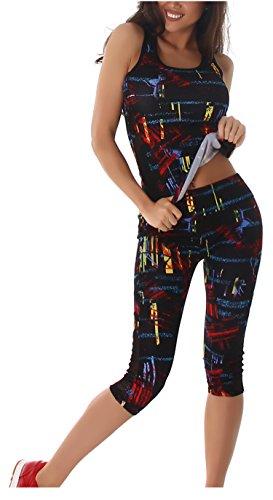 Damen Fitness-Anzug Zweiteiler Sport-Top Tank-TOP und Sport-Leggings Capri (3/4) Trainingsanzug Sport-Outfit Gym Jogging Yoga Workout Pilates verschiedene (S bis M (Etikett 32-34), Rot)
