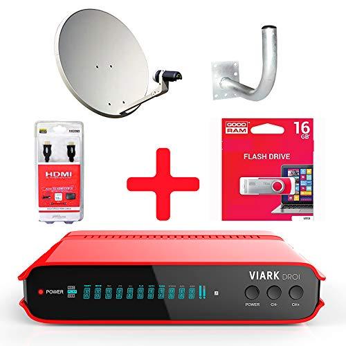 Kit KINALOGY Receptor VIARK DROI+Parabola 60+LNB+Soporte+Cable HDMI+USB 16GB