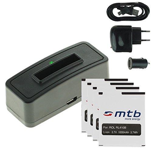 4X Akku + Single-Ladegerät (Netz+Kfz+USB) für Rollei RL410B / Rollei Action Cam 230, 240, 400, 410 / Maginon AC-800W