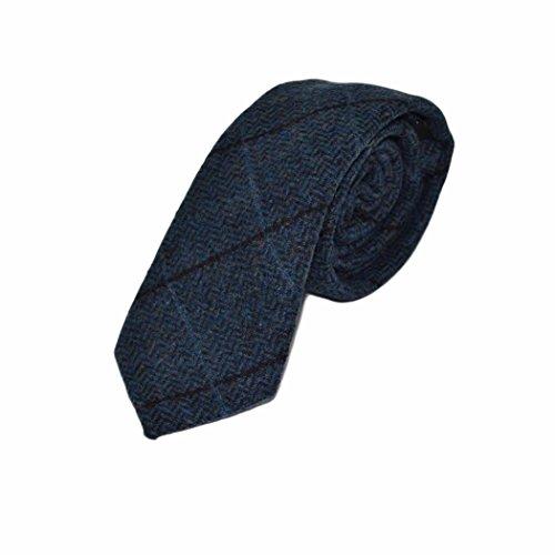 Corbata de Cuadros de Espiga Azul Egeo