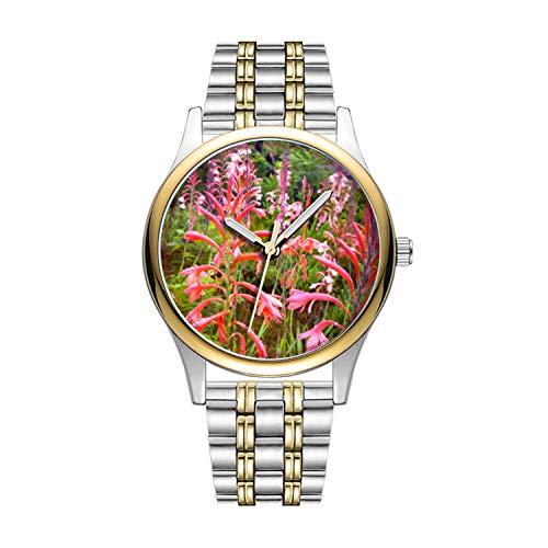 Personalisierte Minimalistische Bugle Lily (Watsonia) Blume, Eastern Cape Wrist Watch Goldene Fashion wasserdichte Sportuhr