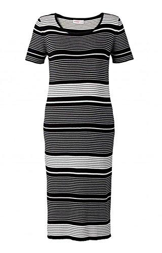 Sheego Damen Strickkleid, schwarz-weiß gestreift, Größe:50
