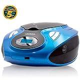 Lauson MX15 Lettore Cd Portatile | USB | Bambini | Stereo | Boombox | CD/MP3 Player | LCD-Display (Blu)