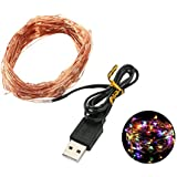 MyMei Copper String Lights For Diwali Christmas USB Operated Wire 100 LED Lights (Multicolor)