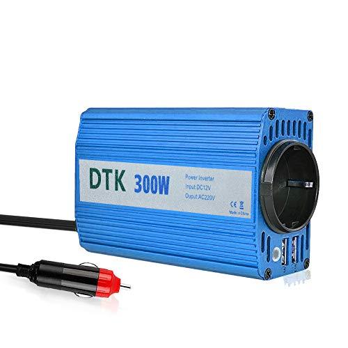 DTK KFZ Spannungswandler Wechselrichter, 300w Spannungswandler Wechselrichter 12v auf 230v Inverter mit 2 USB Anschlüsse und Zigarettenanzünder Stecker,Blau