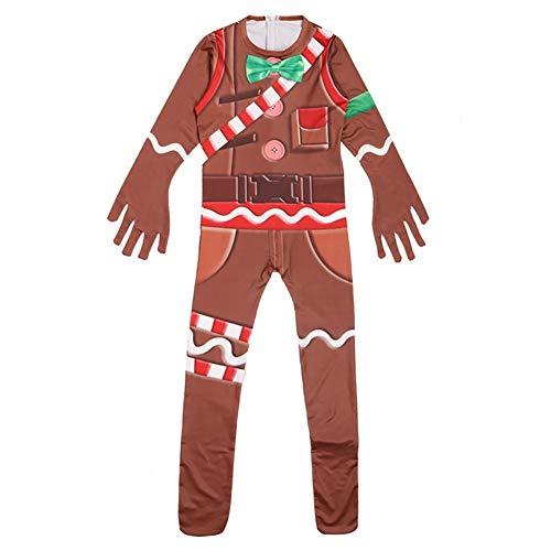 EisEyen Kinder Jumpsuit Lebkuchenmann Spielkleidung Pyjama Cosplay Mädchen Jungen Weihnachten Kostüm Kostümrollenspiel, 150cm, Einheitsgröße