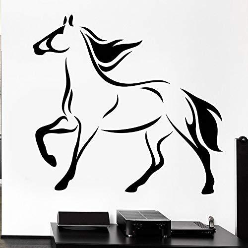 guijiumai Horse Mane Mare Stickers murali Cavallo da Corsa Coda Animale Adesivi in   Vinile Rmovable Art Murale per Camera da Letto Decorazione Domestica Nero 42x44cm