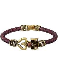 SuperSave Trishul Damru OM Rudraksha Gold Plated Mahadev Mahakal Shiva Bhakt Bahubali Navaratri Special Kada Bracelet