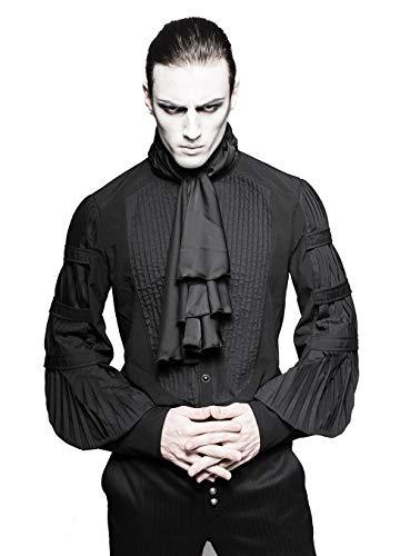 Punk Rave Herren Schwarz Gothic Gentleman Steampunk Bluse mit Krawatte Langarmhemd M (Rave Kostüme Männer)