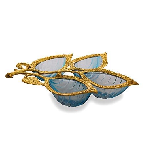 Homesake Golden 4 Leaf Glass & Metal Serving Tray