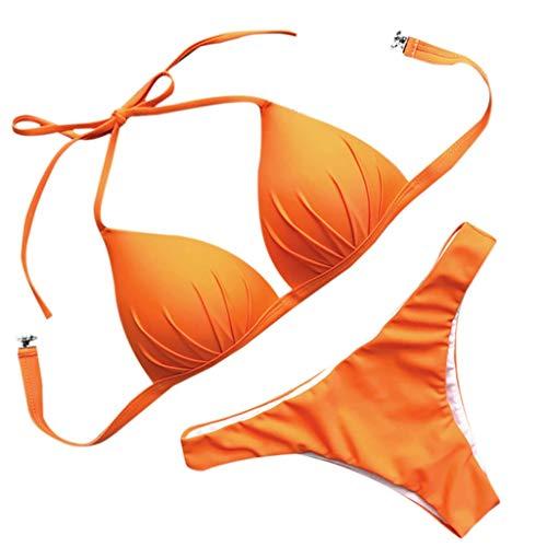 47b1239d601c7 Honestyi-Maillots de bain Halter Sexy Bikini Ensemble 2 Pièces Femme  Bandeau Rembourré Push Up Soutien-Gorge Bandage Eté Réglable Side Ring ...