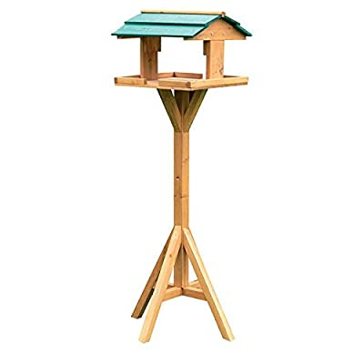 Kingfisher BF009 Traditional Wooden Bird Feed Table with Green Roof by Bonnington Plastics Ltd