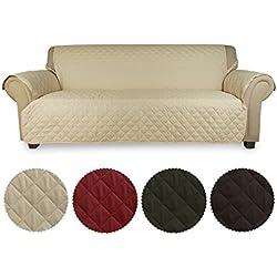 KINLO Sofa Abdeckung 3 Sitzer 167x165 Beige Schonbezug 100% Baumwolle Füllung sehr weich sofa Überwurf Top Qualität Sesselauflage aus Polster Material eine gute Belüftung Sofahusse Couch elastisch