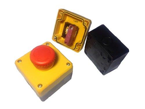 Notausschalter 230V Schlagschalter Not-Halt-Taster IP65 Staubdicht, vollständiger Schutz gegen Berührung, Schutz gegen starkes Strahlwasser