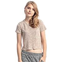 Forever 21 Tan Rayon Round Neck Crop Top For Women