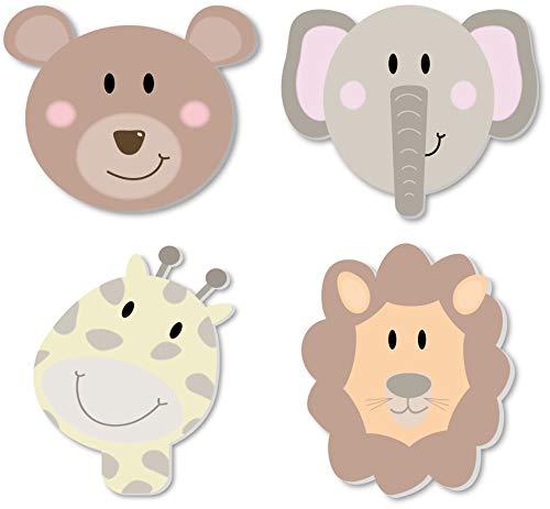 3D Wandsticker XXL Motiv Bär Giraffe Elefant und Löwe / 4 Tier Wandaufkleber in 3D Optik 1 cm dicke Wandtatoos/selbstklebend für Wand, Regal oder Möbel / (Wilde Tiere) (Baby-zimmer-wand-regale)