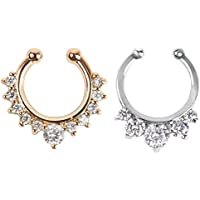 2 Stück Fake Nase Ring Septum Piercing Schmuck für Frauen nicht Piercing Clip auf Körper Piercing Schmuck
