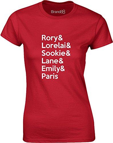 Brand88 - Gilmore Cast, Gedruckt Frauen T-Shirt Rote/Weiß