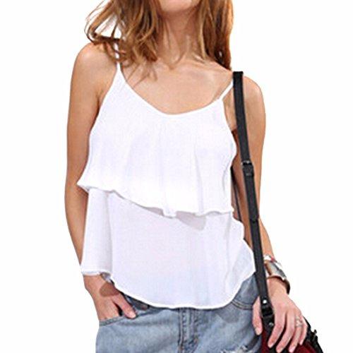 QIYUN.Z Gilets Sexy Casual Femme Ete Mince T-Shirt En Mousseline De Soie Solide De Mode Fronde Blanc