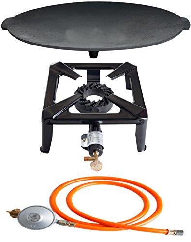 Paella World International Gaskocher Hockerkocher-Set mit Gusseisengrillschale und Gasanschluss-Set Mehrfarbig, 3-teilig