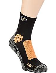 Ultrasport COOLMAX - Calcetines de correr unisex, color negro / naranja, talla 35-38