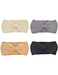 DRESHOW 4 Pack Crochet Knit turbante fascia calda ingombranti all uncinetto  fascia dell involucro d55251faa0d0