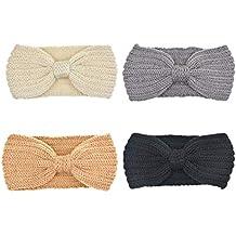 DRESHOW 4 Pack Crochet Knit turbante fascia calda ingombranti all uncinetto  fascia dell involucro 9666ceea7f72