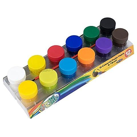 Pack of 12 Colour Poster Paints & Paintbrush Childrens Art