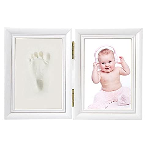Elsatsang Newborn Baby Handprint and Footprint Photo Frame Kit,for Baby Boy/Girl Handprint or Footprint & White Frame A Good Gift for Christmas(White)