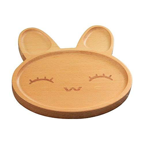 Bandeja de comida de madera natural Placas de alimentación para niños Plato de plato para niños Desayuno para niños Plato o recipiente para refrigeriosB